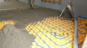 "Another time of '""drowning"" of the radiating system for the formation of the screed"