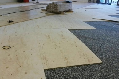 Details of the substructure of parquet Playwood Rubber 22 FIBA approved