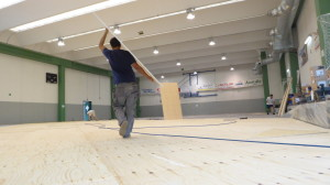 Installation phases of the new sports parquet Dalla Riva Sportfloors in the gym of Italy