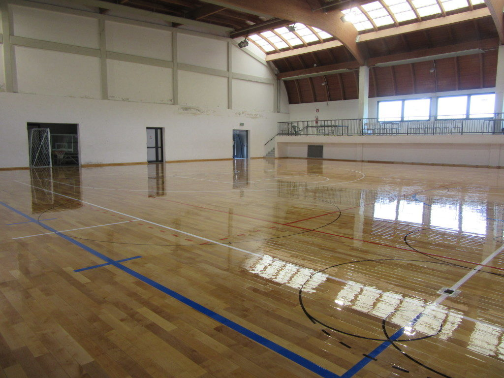 The surface in parquet of the indoor stadium was treated with three cycles of skating paint